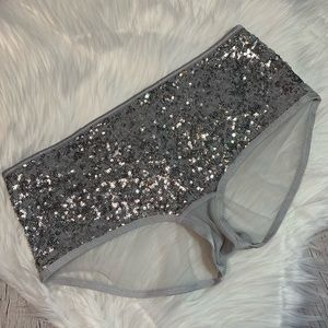 NWT Silver Sequined Shortie Small